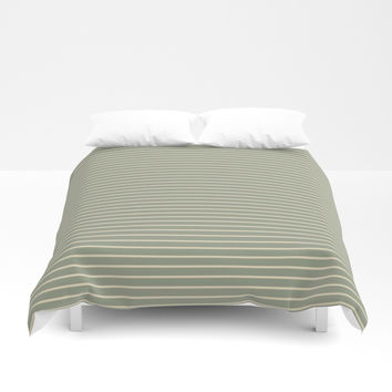 Seafoam Neutral Striped Palette Duvet Cover by Sheila Wenzel