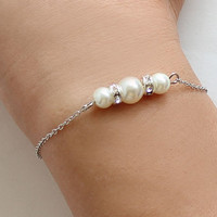 Bridesmaid pearl bracelet wedding gift bridal jewelry silver plated chain rondelles