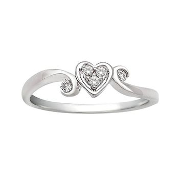 1/14ct tw Diamond Heart Promise Ring in Sterling Silver - Fashion - Diamond Rings - Jewelry & Gifts