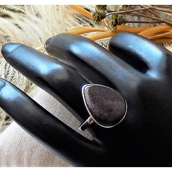 Sterling Silver Goldstone Pear Teardrop Ring Size 7