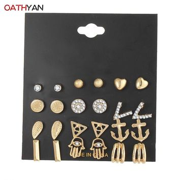 OATHYAN Punk Fashion Stud Earrings Set For Women Statement Ball Heart Palm Hand Anchor Leaf Round Triangle V Shape Ear Gifts