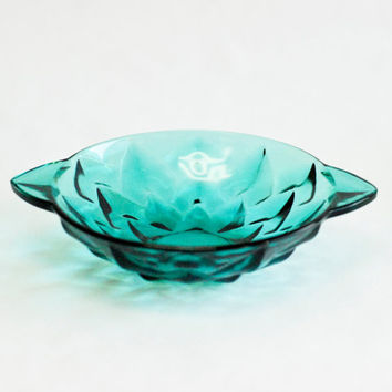 Aqua Turquoise Green Glass Vintage Bowl, Interior Design, Crate and Barrel, Athropologie Style