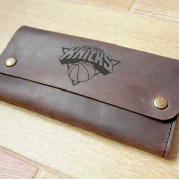 leather wallet Cardholder credit card holder brown New York Knicks NBA basketball handmade cardholder personalized wallet custom wallet