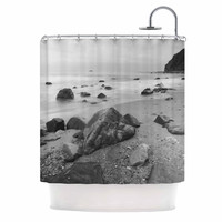 "Nick Nareshni ""Water Moving Around Rocks"" Gray Black White Shower Curtain"