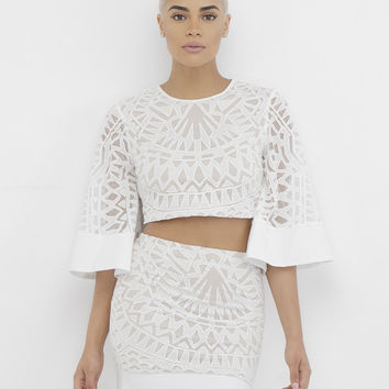 AMOURA DAMASK SKIRT SET - WHITE