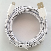 iPhone 5 iPhone 6 iPhone 6+ iPhone 6 Plus Cable Cord Charger 10ft Long Extended Cable Braided Durable Cord White iPhone Charger
