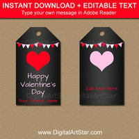 Valentines Day Gift Tags, PRINTABLE Valentine Tags, Chalkboard Tags, Valentine Party Tags, Valentines Day Party Ideas, School Valentines V4