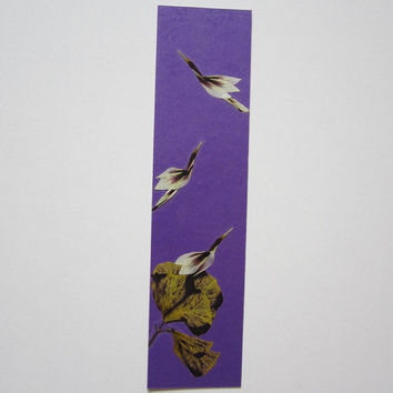 "Handmade unique bookmark ""Start a new day"" - Decorated with dried pressed flowers - Original art collage."