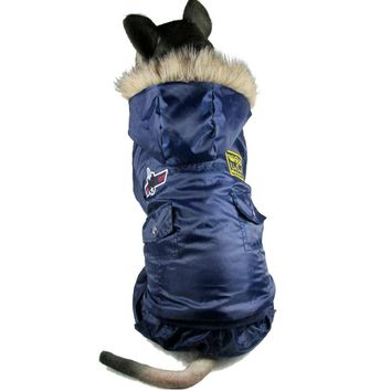 Large dogs clothes winter warm clothing for big dogs pet padded USA Air Force Clothing 2XL-5XL
