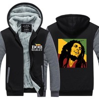 Bob Marley Men Hoodies Winter Jacket Thicken Fleece Zipper Hip Hop Sweatshirt USA size Plus size