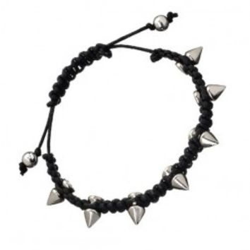 Punk Style Knitted Bracelet With Rivets