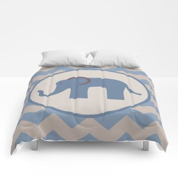 Baby Blue Chevron Elephant  Comforters by UMe Images