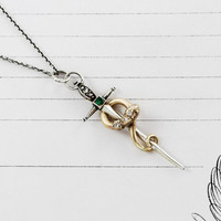 Snake & Sword Pendant Talisman, 14k Yellow Gold Serpent Sterling Dagger Diamonds Emerald Necklace, Amare Bohemian Statement Bridal Jewelry