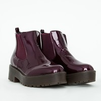 RUBBER SOLE CHELSEA BOOTS BURGUNDY PATENT