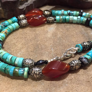 Men's Multi Gemstone Choker/Carnelian Turquoise Obsidian Stone Necklace/Masculine black burnt sienna turquoise/for Him/@ IndigoLayne