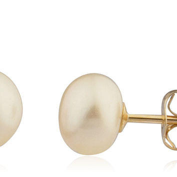 Real 14k Yellow Gold Simulated Pearl Stud Earrings with 14k Pushbacks (6 Millimeters)