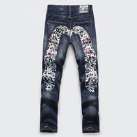 Ripped Holes Jeans Men's Fashion Straight Jeans [6541762691]