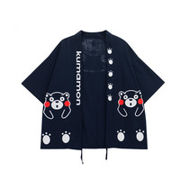 Kumamon Japanese Kimono Summer Outer Wear Harajuku Women Shirt Black Bear Prints Loose Open Short Cartoon Tops Shirts For Cuties