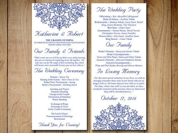 Wedding Program Template Download Order Of Service Kaleidoscope Adriatic Royal Blue Ceremony