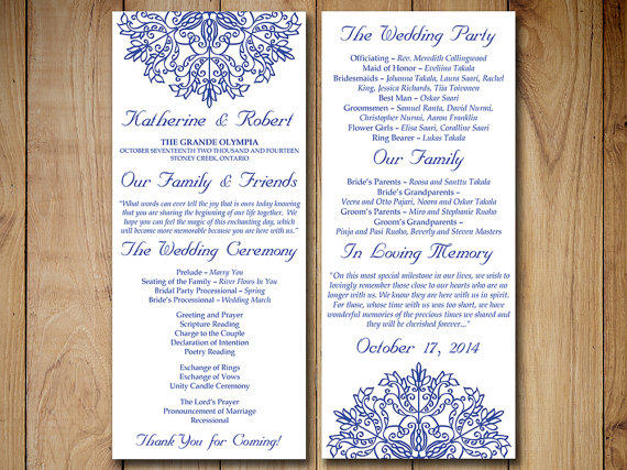 wedding ceremony order of service template free - wedding program template download order from