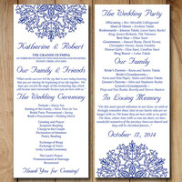 "Wedding Program Template Download Order of Service ""Kaleidoscope"" Adriatic Royal Blue Ceremony Program Template - Snowflake Wedding Program"