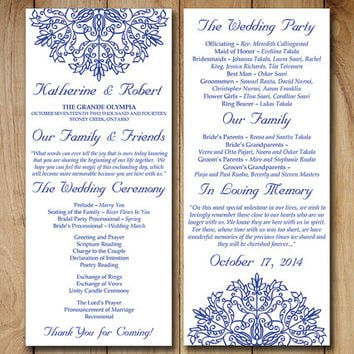 wedding program template download order from paintthedaydesigns