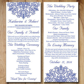 wedding program template download order of service kaleidoscope adriatic royal blue