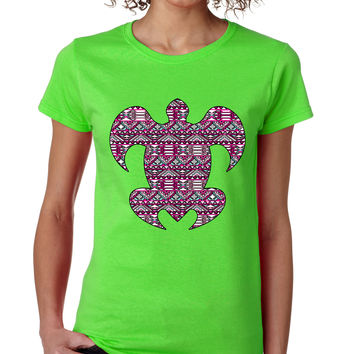 Aztec turtle Pink Print womens  T-Shirts