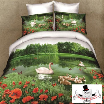 3D Bed Set White Duck With Baby Ducks Bedding Set and Quilt Cover