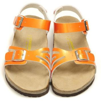 Birkenstock Leather Cork Flats Shoes Women Men Casual Sandals Shoes Soft Footbed Slippers-23