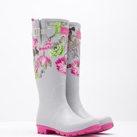 Silver Posy Wellyprint Printed Wellies | Joules UK