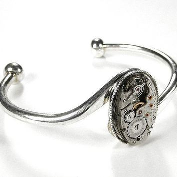 Steampunk Cuff  - Vintage OVAL Bracelet Ruby Jeweled Watch Mechanism - As Featured in WOLFRAM Magazine - Jewelry by edmdesigns