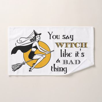 Retro Witch Attitude Hand Towel