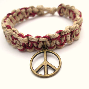 Peace Hemp Jewelry Peace Sign Thick Hemp Bracelet Natural Burgundy Eco-friendly