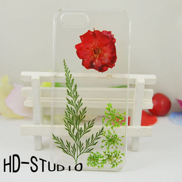 Pressed flower iphone 5s case, real flower iphone 6/6s Plus case, pressed flower iphone 5 /5c / 4 case - mini rose and leaf