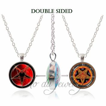 Personality Pentagram Double Face Pendant Ace of Pentacle Necklace Fire Pentagram Wiccan Jewelry Occult Tarot  Choker Necklaces