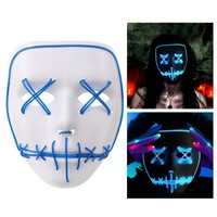 2018 Halloween Ghost Slit Mouth Light Up Glowing EL Wire Fashion Cosplay Mask Costume Mask For Party King