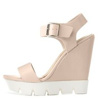 Nude Bamboo White Lug Sole Wedge Sandals by Bamboo at Charlotte Russe