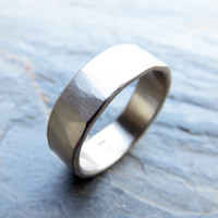 Hammered Palladium White Gold Wedding Ring - 6mm Wide Band in Polished or Matte Finish