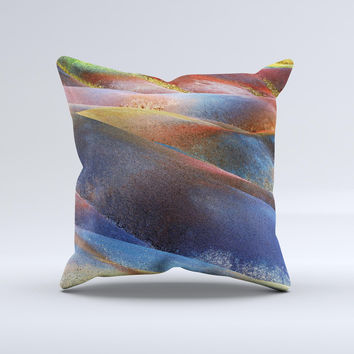 Multicolored Slate  Ink-Fuzed Decorative Throw Pillow