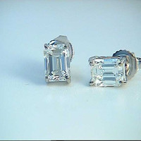 Emerald cut Diamond Earrings 2.02ct Diamond Studs Earrings Emerald cut 18kt White Gold BLUERIVER47 Fine  Jewelry Etsy Anniversary Gift