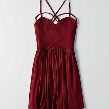 AEO Strappy Fit & Flare Dress, Black