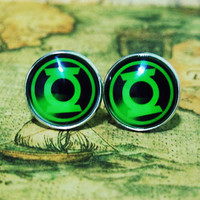 Men Cuff LInks , The Avengers Movie Movie Green Lantern Design Cufflinks , Unique Silver Cuff Link , with a Gift Box