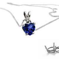 "Sapphire Heart Pendant in 14K White gold including 16.5"" chain"