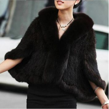 ZY87004 Winter Women's Genuine Knitted Mink Fur Shawls With Fox Fur Collar Capes Bat Sleeve Bridal Wraps Outerwear Coats