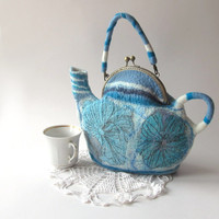 Felted tea  teapot  purse Blue white flower
