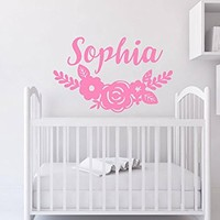 Girl Name Wall Decal Flowers Rustic Vinyl Sticker Decals Rustic Girl Boho Bohemian Wall Decal New Baby Trendy Decor NV220