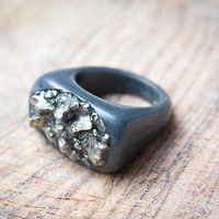 Rough Pyrite Resin Ring Oblong Square Shape Cocktail Ring OOAK size 9 dark gray silver rusteam