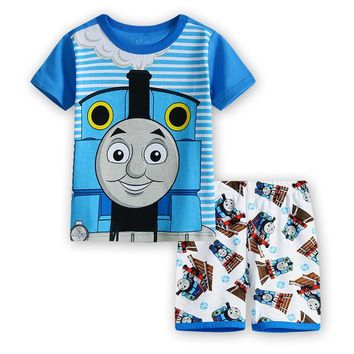 Pure cotton boy with short sleeves household to take children's wear the spring/summer pajamas cartoon pajamas clothing S002