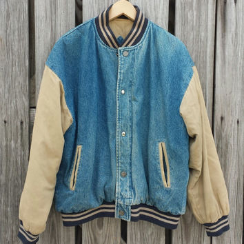 Vintage Jean Jacket - Vintage Denim Baseball Jacket - Varsity Preppy - by Expeditions - SZ L